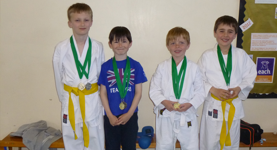 Brightlingsea Junior Competition 210413_medal winners Bailey Larkins, Harry McTiernan, Zac Matthews and Leo Matthews